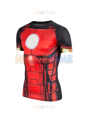 Red Iron Man Superhero Pattern Slim Fit Sport Quick Dry Tee