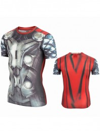 Strong 3D Thor Superhero Mens Short Sleeve Cycling T-Shirts Sport Quick Dry