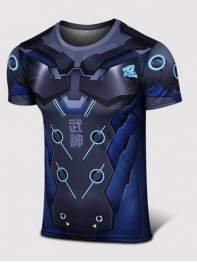 Overwatch Genji Black Spandex/Lycra Cosplay T-shirt