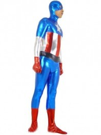 Captain America Shiny Metallic Superhero Costume