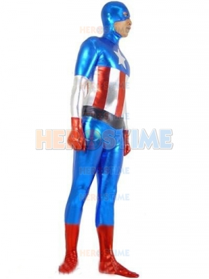 Captain America Shiny Metallic Superhero Costume