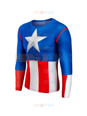 Classic Captain America Slim Fit Long Sleeves T-shirt