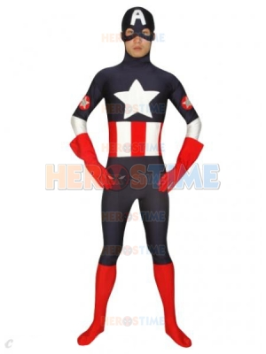 Marvel Comics Captain America Black Spandex Superhero Costume