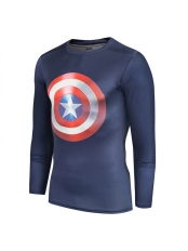 Navy Blue Captain America Shield Quick Dry 3D Patterns Tee Sportswear