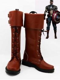 Newest Captain America Shield Star Brown Superhero Cosplay Boots