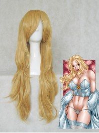 X-men Emma Frost Gold 80CM Long Curly Wig