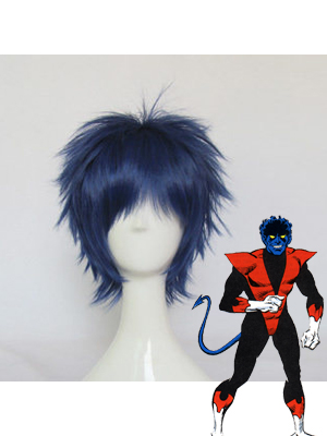 Marvel X-men Nightcrawler Short Blue & Black Wig