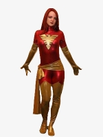 Red X-Men Dark Phoenix Shiny Metallic Superhero Costume