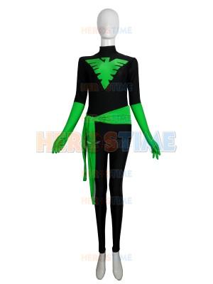 Black & Green X-Men Phoenix Spandex Superhero Costume