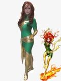Green X-men Dark Phoenix Spandex Superhero Costume