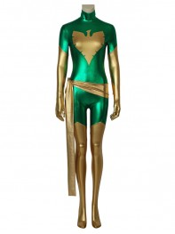Jean Grey Suit Green X-Men Shiny Metallic Cosplay Costume