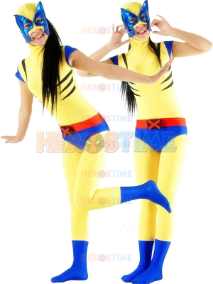 Cute Yellow & Blue Wolverine Superhero Costume