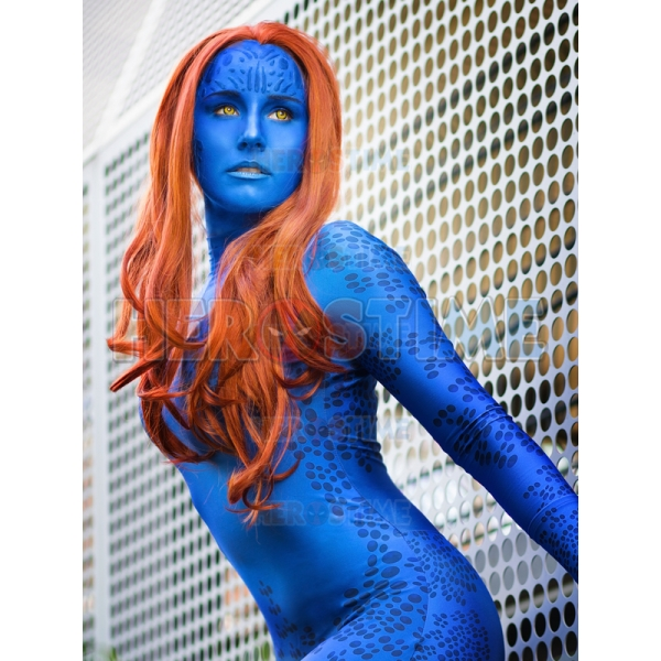 Children X-coser X-men Mystique Halloween Cosplay Blue Costumes Superhero Zentai