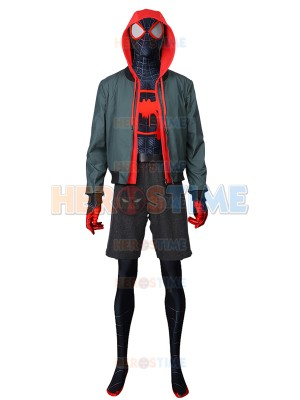 Into the Spider-Verse Spiderman Costume Miles Morales Deluxe Cosplay Costume