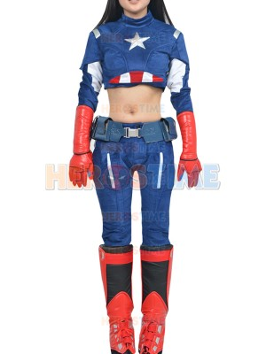 Deluxe Womens Captain America Superhero Cosplay Costume