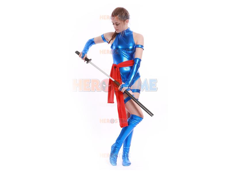 Blue Shiny Female Ninja Costume