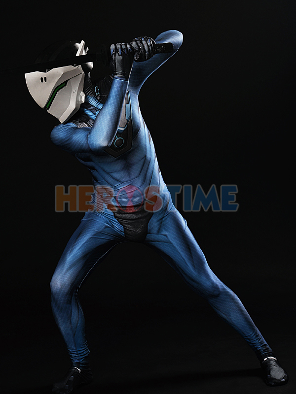 Overwatch Carbon Fiber Genji Costume Overwatch Blue Cosplay Suit