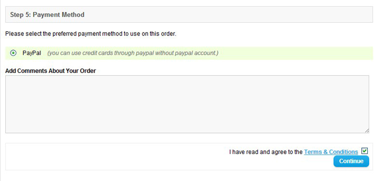 select the paypal payment method